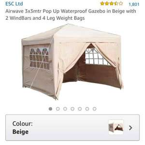 Airwave 3x3mtr Pop Up Waterproof Gazebo in Beige with 2 WindBars and 4 Leg Weight Bags at Amazon for £79.99