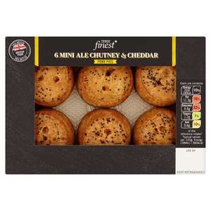 Tesco Finest 6 Mini Cheddar And Ale Chutney Pies 300G. £2.50 (RRP £3.00)