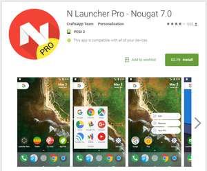 [Android] N Launcher Pro - Nougat 7.0 Was £2.79 Now Free @ Google Play Store