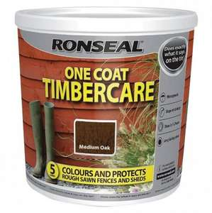 Ronseal 5L Fence Paint Medium Oak RRP £8.99 you save £5.00 now £3.99 @ Poundstretcher