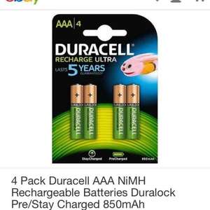 4 pack Duracell AAA rechargeable batteries £6.65 @ neonoffice / Ebay