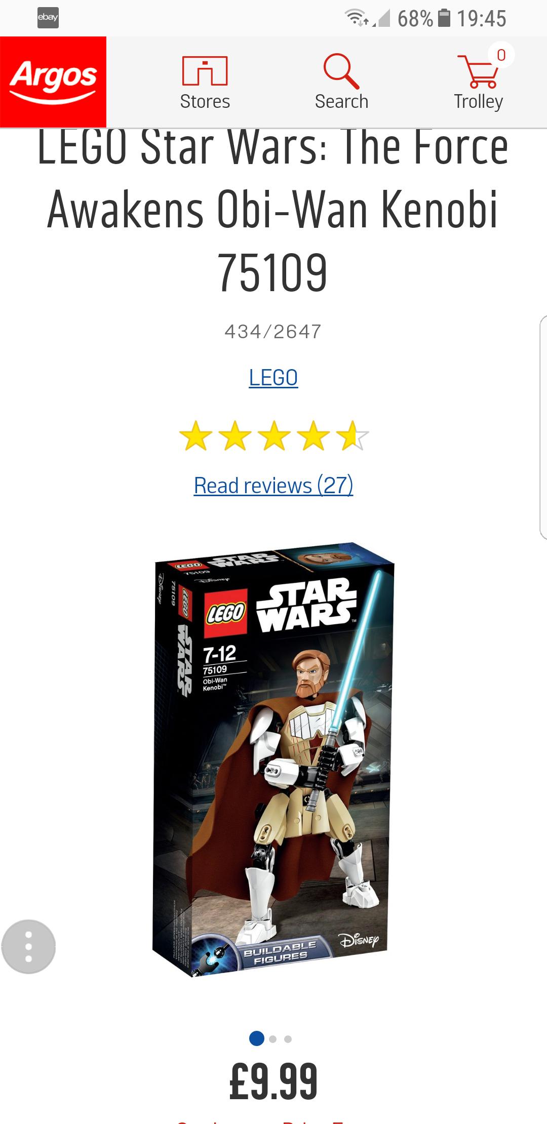 LEGO Star Wars: The Force Awakens Obi-Wan Kenobi £9.99 @ Argos