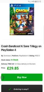Crash Bandicoot N. Sane Trilogy on PlayStation 4 - £29.85 @ Simplygames