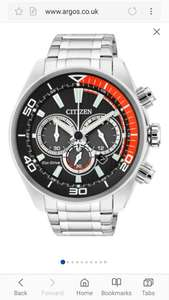 Citizen Men's Eco-Drive Orange and Black Chronograph Watch ARGOS £79.99