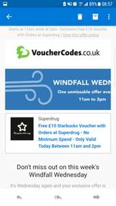 Free £10 Starbucks voucher via vouchercodes.co.uk on any Superdrug purchase no minimum spend today 11am-2pm