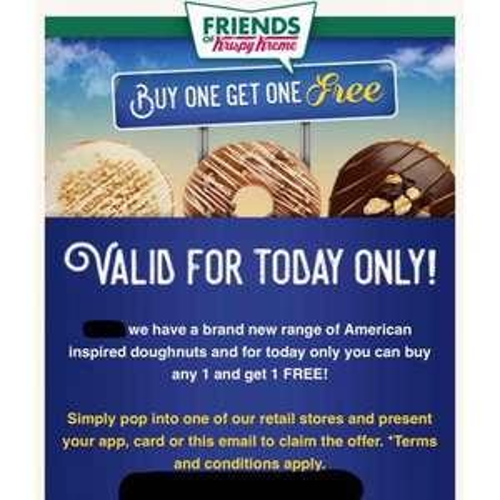 Krispy Kreme in store 2 for one American donuts