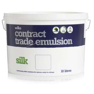 Wilko Contract Matt or Silk Emulsion Paint White 10L Only £10.00 (Instore Only)