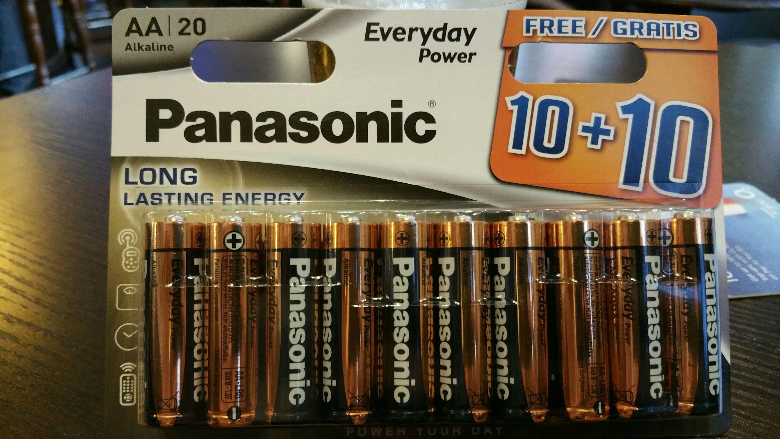 20 Panasonic AA alkaline batteries £4 @ Poundworld