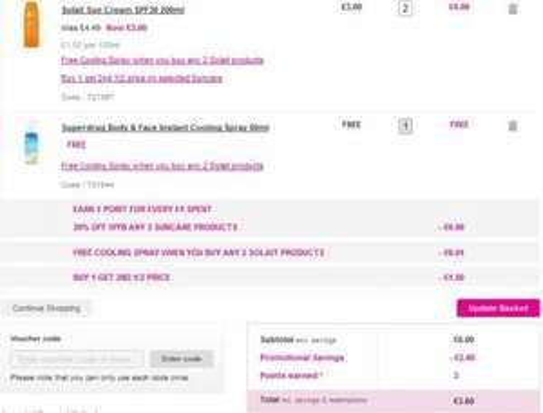 Superdrug Solait 5* SPF30 200ml sun cream - 2 bottles delivered for £3.60 with free cooling spray