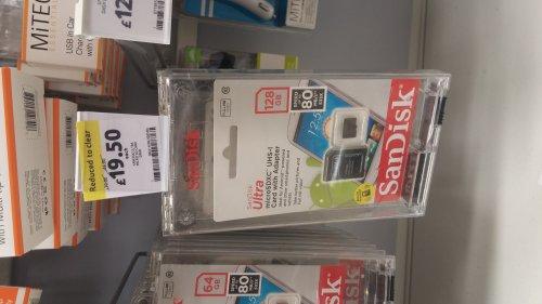 128GB Sandisk Ultra Micro SD Card + Adaptor - £18.50 instore @ Tesco