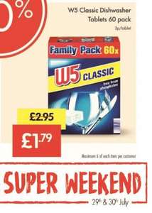 W5 Classic Dishwasher Tablets x 60  for £1.79 @ Lidl from 29th