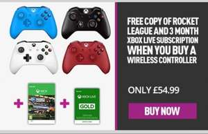 Xbox wireless Controller + Rocket League + 3 months Xbox Live subscription £54.99 @ Game