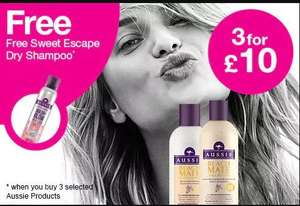 Offer stack - Aussie hair care now 3 for £9 plus free 180ml sweet escape dry shampoo when you buy 3 products & free delivery @ Superdrug