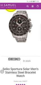 Seiko Sportura Solar Men's Stainless Steel Bracelet Watch - £269.10 @ H Samuel