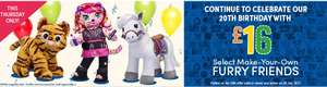 Online and instore today only Care bears, My Little Pony, Star Wars, Minions and Frozen furry friends £16 @ Build a Bear