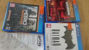 Batman The Telltale Series, Metro Redux, Carmageddon Max Damage PS4 Pre-Played instore at Smyths (Watford) from £2.99