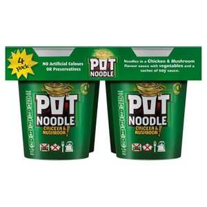 Pot Noodle Chicken & Mushroom (4 x 90g) was £3.88 now £2.00 (Rollback Deal) (So 50p each pot) @ Asda
