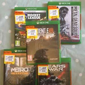 resident evil 7, rocket league, metro redux and metal gear solid Xbox one all £3 each pre owned in smyths