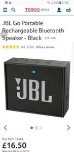 JBL Go Portable Rechargeable Bluetooth Speaker @ Tesco
