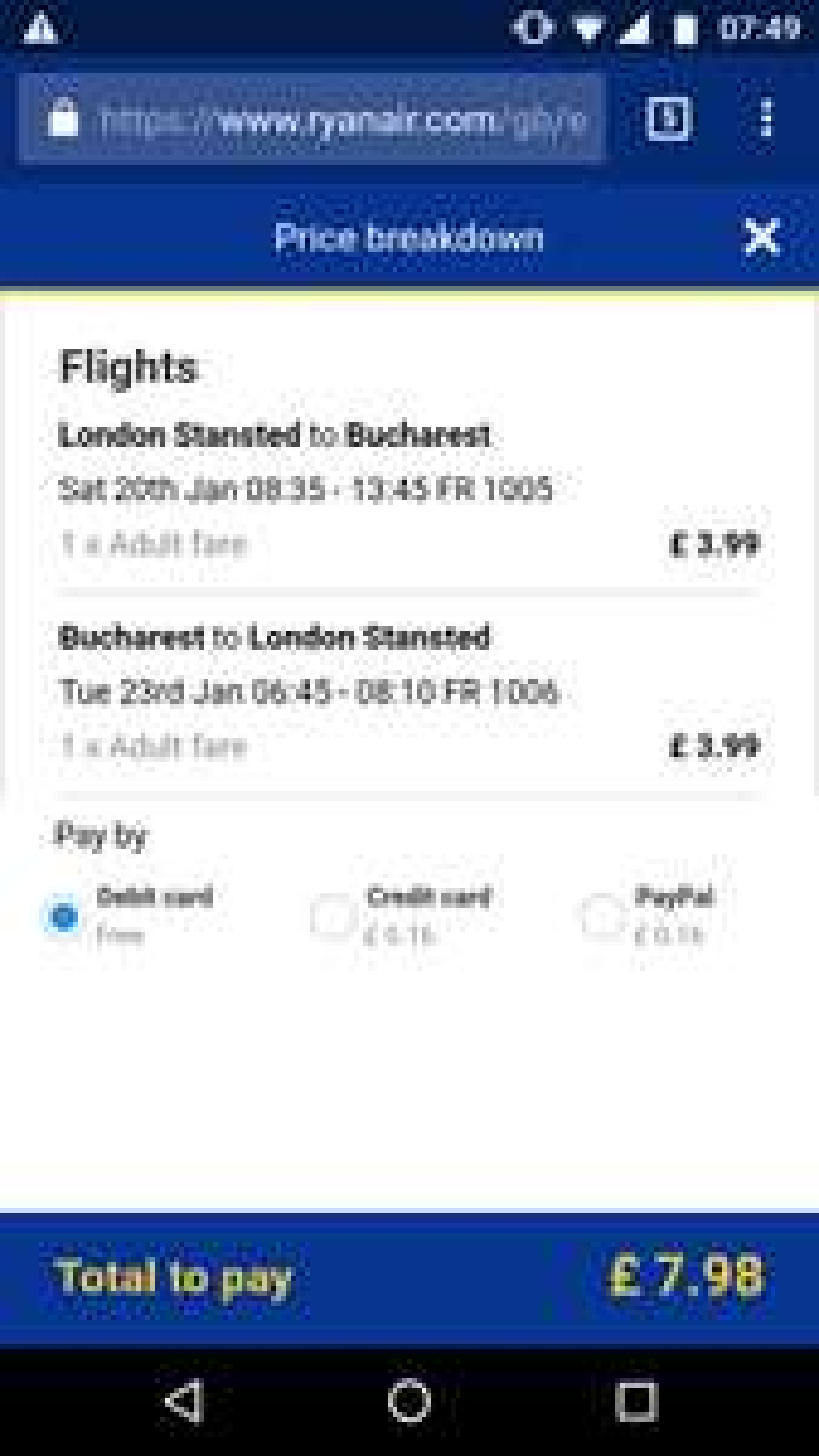 Return flights to Romania (Bucharest) £7.98pp @ Ryanair
