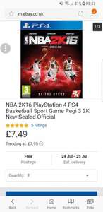NBA 2K16 PLAYSTATION 4 at Ebay/Go2Games for £7.49