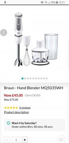 Braun - Hand Blender MQ5035WH - £45 @ Debenhams