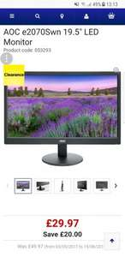 "AOCe2070Swn 19.5"" LED Monitor - £29.97 (C&C) @ Currys"
