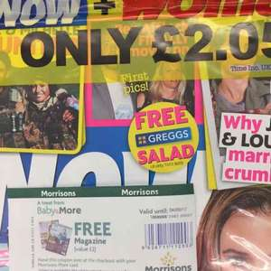 Magazine for 5p with voucher just for being in Morrisons baby club. magazine has a FREE Greggs salad