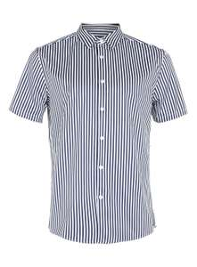 Navy And White Bengal Stripe Short Sleeve Smart Shirt - £1 Collect In Store @ Topman