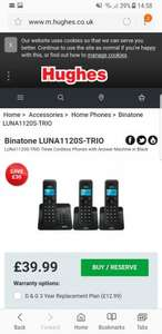 Binatone LUNA1120S-TRIO WITH ANSWER MACHINE £39.99 @ Hughes