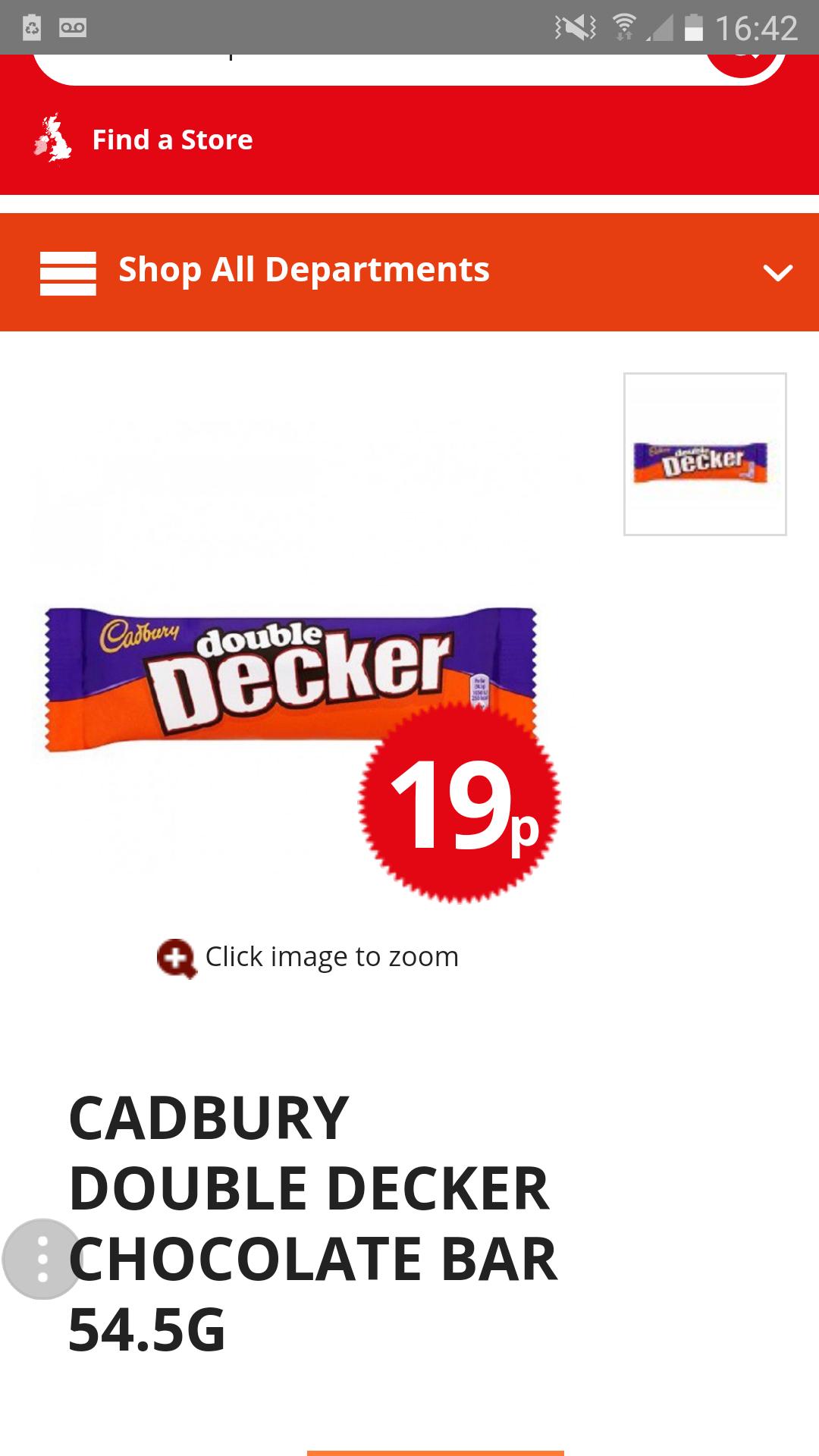 Cadbury double decker 54.5g bar just 19p rrp 65p @ poundstretcher
