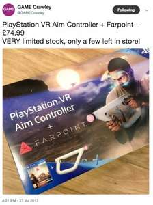 Farpoint + Aim Controller in store at GAME Crawley £74.99