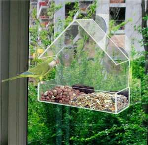 CLEAR GLASS WINDOW VIEWING BIRD FEEDER HOTEL TABLE SEED PEANUT HANGING SUCTION £5.50 @ ebay /sashtime