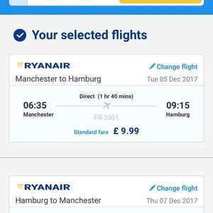 Manchester to Hamburg cheap flights with Ryanair £20 Rtn