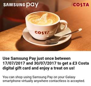 Free £3 Costa Giftcard when using Samsung Pay