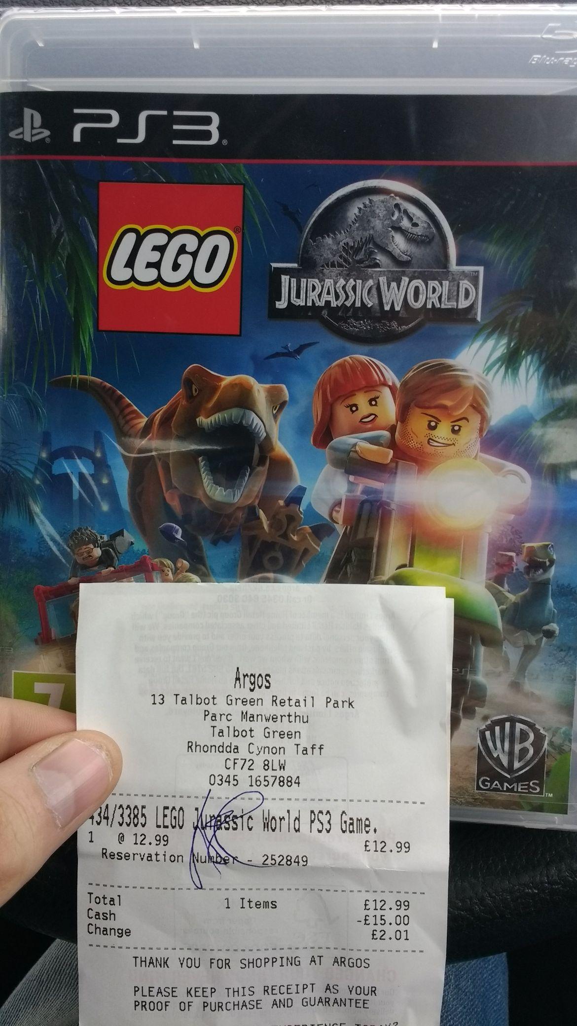 Lego Jurassic world for ps3 £12.99 @ Argos
