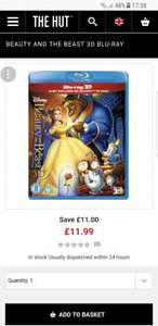 BEAUTY AND THE BEAST 3D BLU-RAY £11.99 @ The hut