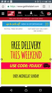 Free delivery all weekend with code at get the label