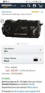 Helly Hansen Duffel Bag - Black, 30 Litre £25.67 @ Amazon