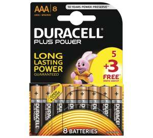 Duracell Plus Power Alkaline AAA Batteries Pack of 5+3 free, £2.49. Free C&C @ Argos