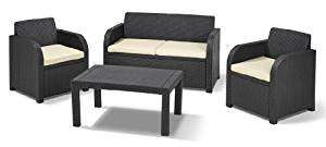 Keter Allibert Carolina Outdoor 4 Seater Rattan Lounge Garden Furniture Set - Graphite with Cream Cushions now just £159.99 @ Amazon + 5 years guarantee