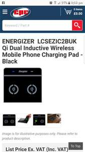 ENERGIZER  LCSEZIC2BUK  Qi Dual Inductive Wireless Mobile Phone Charging Pad - Black £7.38 delivered @ CPC Farnell