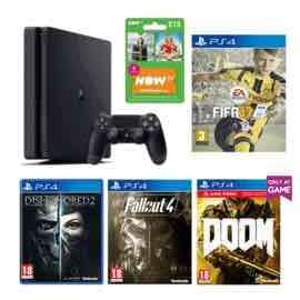 PlayStation 4 500GB+ FIFA 17 or Horizon Zero dawn + Dishonored 2 + Fallout 4 + DOOM With UAC Pack + NOW TV Entertainment 3 Month Pass £229.99 @ Game