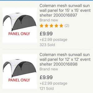 Coleman mesh sunwall sun wall panel for 15ft and 12ft event shelter £12.98 delivered by eBay seller camping and leisure 1959