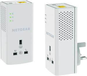 NETGEAR PLP1200-100UKS 1200 Mbps Powerline Ethernet Adapter Homeplug, Pass Through/Extra Outlet (1 Gigabit Ethernet Port) - Twin Pack £44.99 @ Amazon