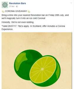 Bring a lime to a Revolution bar on Fri 28th July and swap it for a Corona