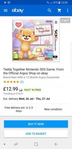 Teddy Together Nintendo 3DS Game. £12.99 @ Argos / Ebay