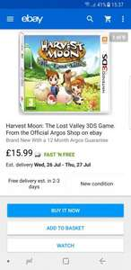 Harvest Moon: The Lost Valley 3DS Game £15.99 @ Argos / Ebay