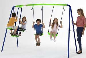 Multiplay kids swing set with 2 swings and 2 seater glider set £40 at Asda