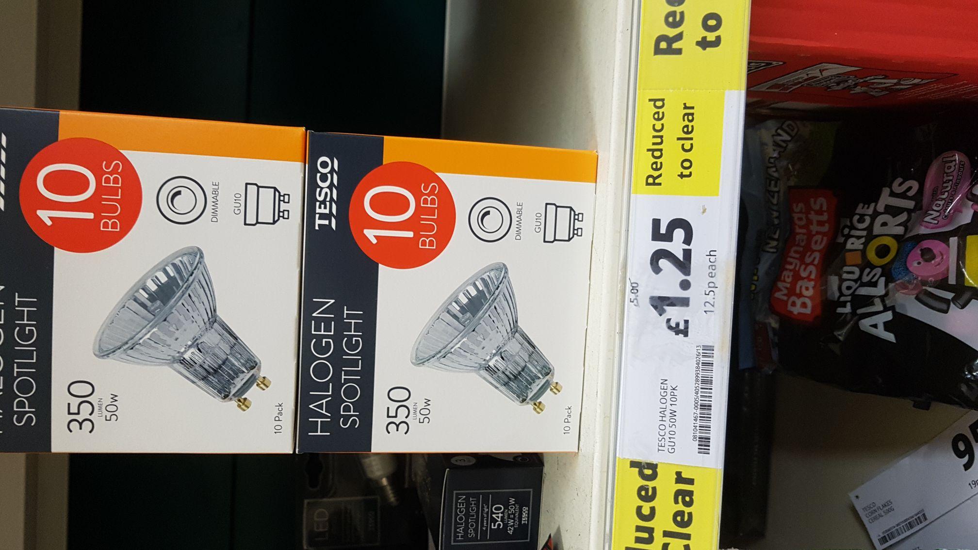10 X GU10 Halogen Bulbs 50W £1.25 - Tesco Metro Nottingham